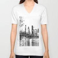 portland V-neck T-shirts featuring portland skyline by silverylizard