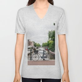 Bicycles in Amsterdam canal Unisex V-Neck