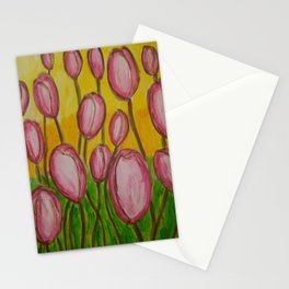Pink abstract tulips Stationery Cards