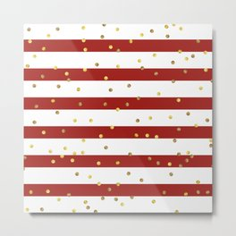 Christmas White and Red and Christmas Golden confetti Metal Print
