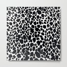 Animal Print Cheetah Black and White Pattern #4 Metal Print