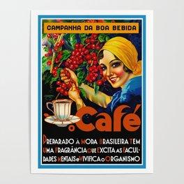 Vintage Brazil Coffee Ad Poster