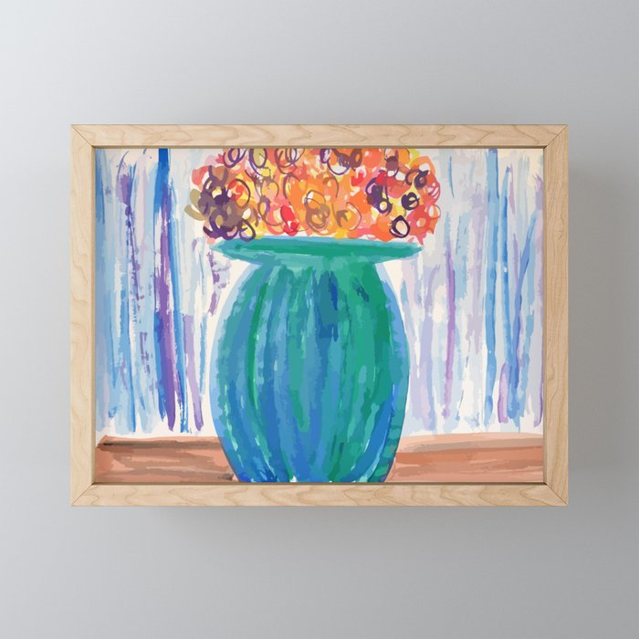 Potted Flowers Watercolor Framed Mini Art Print