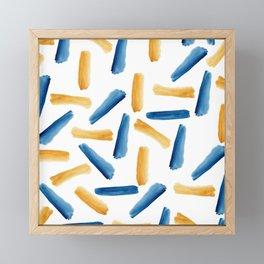 Modern artsy navy blue gold watercolor brushstrokes Framed Mini Art Print