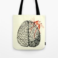 brain Tote Bags featuring Brain by Emilie Ringlet