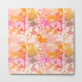 Abstract Paint Splatters Pink & Orange Metal Print