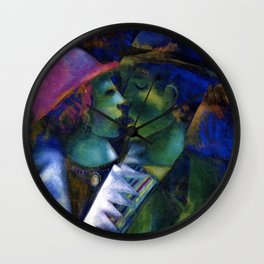 Green Lovers by Marc Chagall Wall Clock