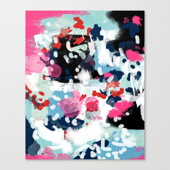 Aubrey - Abstract painting in bright colors pink navy white gold Canvas Print