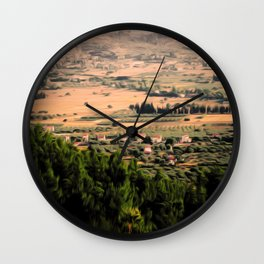 Graphic Landscape Painting Wall Clock