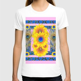 PINK-BLUE PEACOCK SUNFLOWERS DECO JEWELED T-shirt