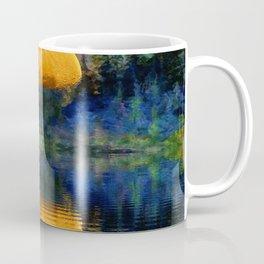 SURREAL RISING GOLDEN MOON BLUE REFLECTIONS Coffee Mug