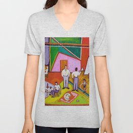 African American Masterpiece 'The Time of Your Life' by Beauford Delaney Unisex V-Neck