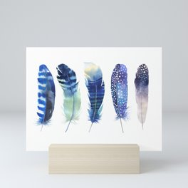 Blue Teal Colorful Magical Mystical Feathers Watercolor Painting Nature Patterns White Background Mini Art Print