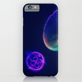 THREE ASSORTED-COLOR NEON JELLYFISHES iPhone Case