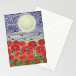 moonlit poppies, fireflies, and snails Stationery Cards