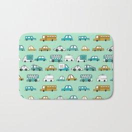 Cars trucks buses city highway transportation illustration cute kids room gifts Bath Mat