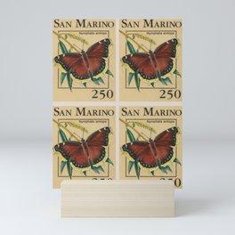 San Marino butterflies post stamp collage Mini Art Print