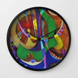 Painting abstract climbing in the mountains Wall Clock