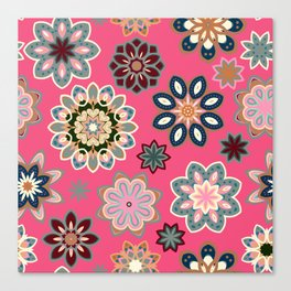 Flower retro pattern in vector. Blue gray flowers on pink background. Canvas Print