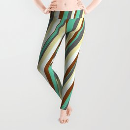 Vibrant Aquamarine, Dim Grey, Pale Goldenrod, Mint Cream, and Brown Colored Lined Pattern Leggings