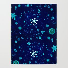 Blue Snowflakes Pattern Poster