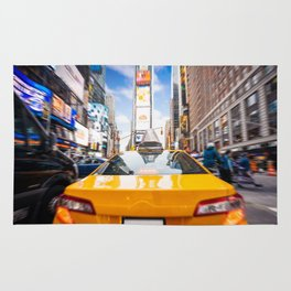 Taxi in Times Square, New York. Rug