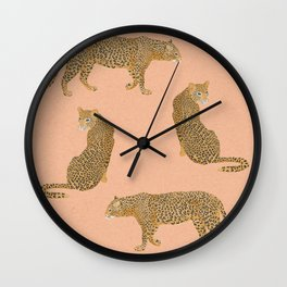 sunset leopards Wall Clock
