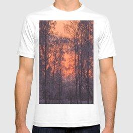 Winter Scene - Frosty Trees Against The Sunset #decor #society6 #homedecor T-shirt