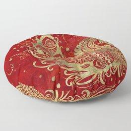 Golden Phoenix Bird on red Floor Pillow