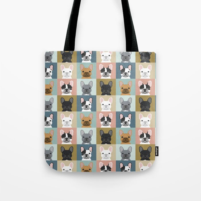 French Bulldog portraits pattern dog person gift love animal pet puppy frenchie bulldog valentines Tote Bag