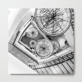 Abstract Perspective // Black and White Lighting Ornamental Chandelier Stairway View Metal Print