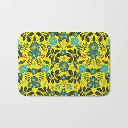 Bright Yellow, Red, Turquoise & Navy Blue Floral Pattern Bath Mat
