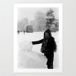 Lady & the Snowman Art Print