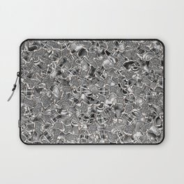 Retro Black and White Abstract Mosaic Tiles Pattern Laptop Sleeve