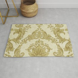 Gold Cream Paisley Floral Pattern Rug