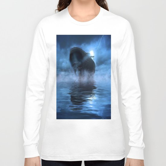 Ghost Ship Guided by Star Long Sleeve T-shirt