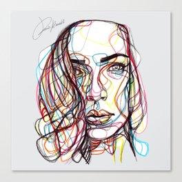portrait style line - ritratto in stile linee colorate - lignes style portrait couleur Canvas Print
