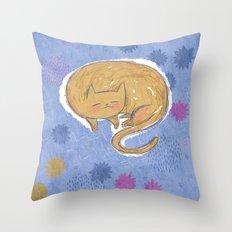Sleepy Kitty Dreams Throw Pillow