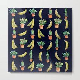 Cactus & Bananas at night Metal Print