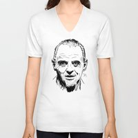 silence of the lambs V-neck T-shirts featuring Hannibal Lecter Sketch - The Silence of the Lambs by Soyarts