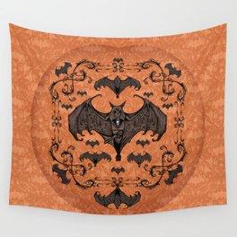 Bats and Filigree - Halloween Wall Tapestry