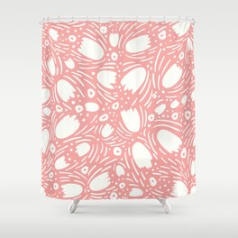 Floral Reverie in Coral Shower Curtain