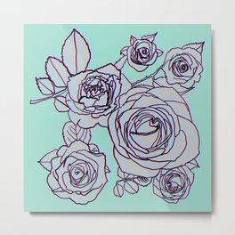 Electric Pop Art Roses on Blue Metal Print