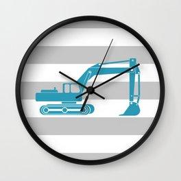 Turquoise Excavator Wall Clock