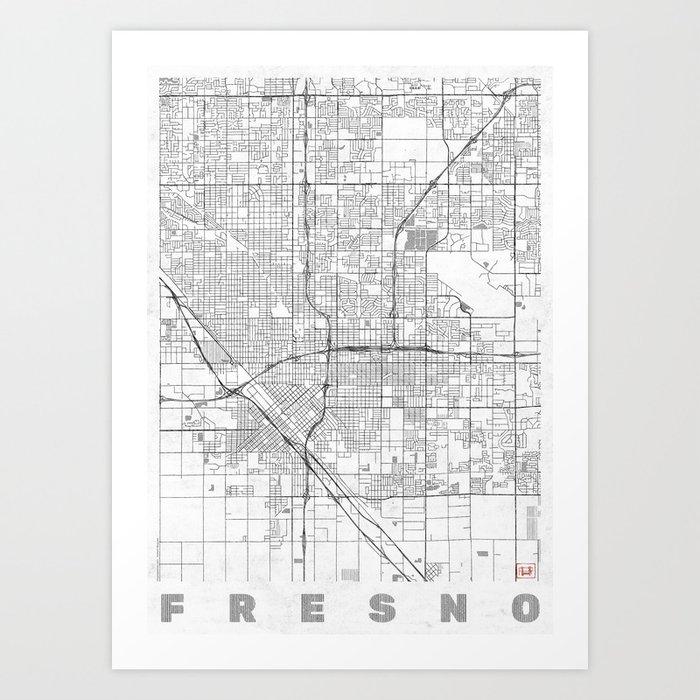 Fresno Map Line Art Print