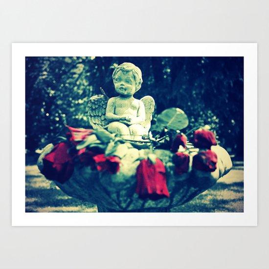 Cherub's roses Art Print