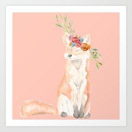 Watercolor fox flower crown peach Art Print