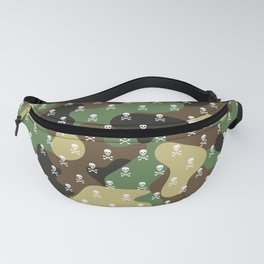 CAMO & WHITE SKULLS ALL OVER PRINT LARGE Fanny Pack