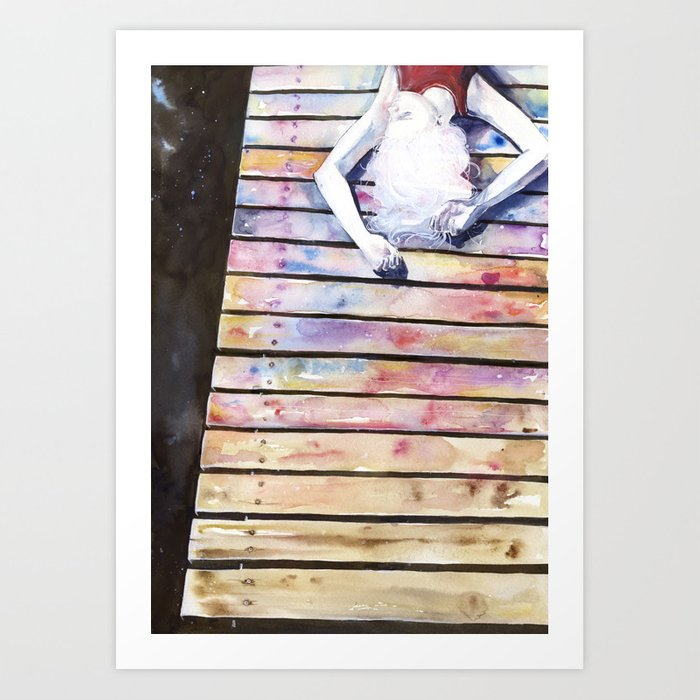 Discover the motif ON THE JETTY, IN THE SUN, HER MIND WAS ELSEWHERE by Agnes Cecile as a print at TOPPOSTER