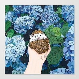 Hedgehog by the Hydrangeas Canvas Print